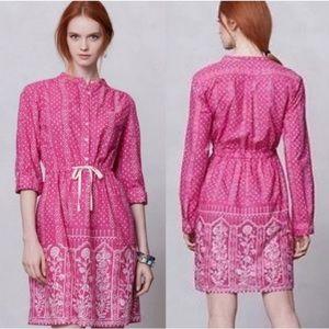 Anthro Meadow Rue Anila Shirtdress Pink Boho Batik